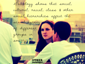 A woman faces the camera surrounded by seated friends. Quote is overlaid, saying: 'Sociology shows that social, cultural, racial, class and other social hierarchies affect the sexual agency of different groups in society