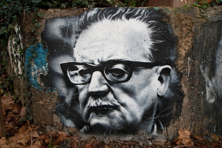 Steet art portrait  of Salvador Allende. Via Thierry Ehrmann, Flickr