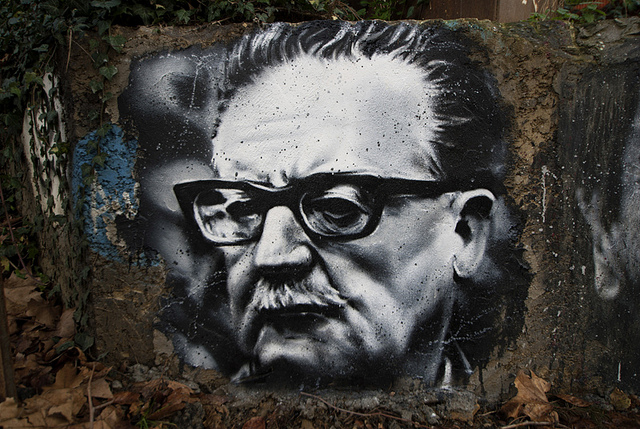 Steet art portrait  of Salvador Allende. Via Thierry Ehrmann, Flickr