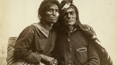 Historic photo of Navajo couple from the collection of the Museum of New Mexico, 1866. Via ITVS