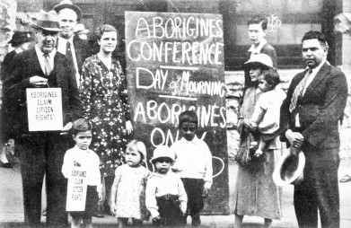 Day of Mourning - Australia Hall, Sydney, 1938. Via Indigenous Rights