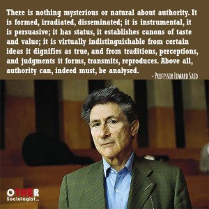 Drawing of Edward Said at the bottom of the graphic, with a quote from him at the top: There is nothing mysterious or natural about authority. It is formed, irradiated, disseminated; it is instrumental, it is persuasive; it has status, it establishes canons of taste and value; it is virtually indistinguishable from certain ideas it dignifies as true, and from traditions, perceptions, and judgments it forms, transmits, reproduces. Above all, authority can, indeed must, be analysed.