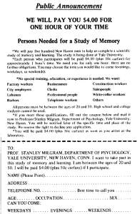 Advertisement recruiting participants to the original Millgram Experiment. Via Sociological Images