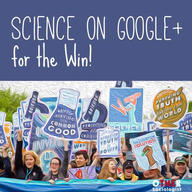 Drawing of protesters hold signs saying 'science serving the common good' and others