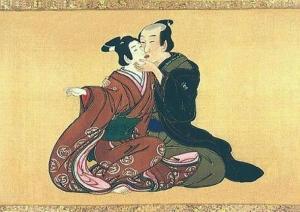 Samurai kiss, by Miyagawa Isshô. Via Wikimedia