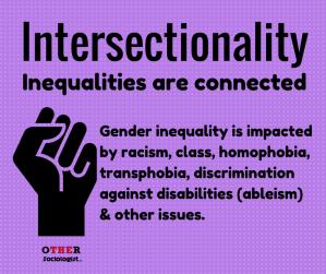 交叉性:不平等是相互联系的。性别不平等受到种族主义的影响,类,同性恋恐惧症转座子,残疾歧视(能力主义)和其他问题。