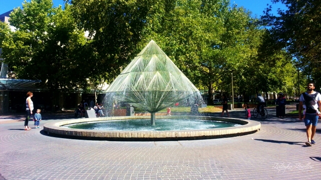 The Canberra Times Fountain by Bob Woodward. Public art in Canberra City
