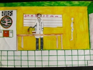 Draw a Scientist Test, image from David Wade Chambers stdy 1983. Source: Wikipedia, CC 3.0