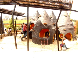 Families at the Pod Playground, National Arboretum Canberra