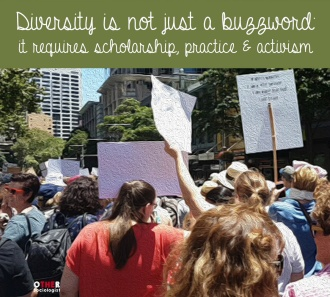 Crowd of protesters march in the city of Sydney
