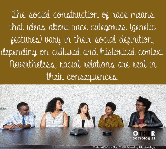 "Five women of colour sit behind a table talking, with quote ""The social construction of race means…in their consequences."