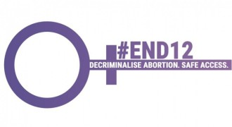 """Symbol for """"woman"""" turned on its side with the tagline: #END12 Decriminalise abortion"""