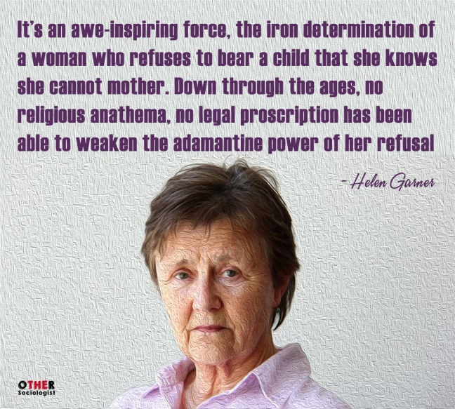 Helen Garner faces the audience with the quote above her image