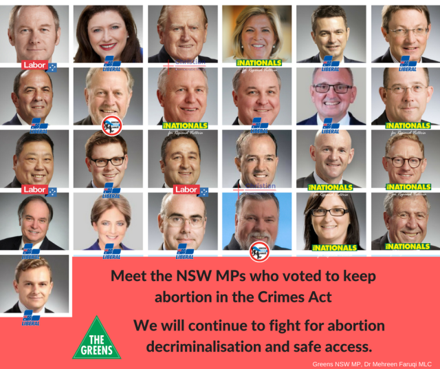 Faces of 25 ministers who voted against decriminalising abortion in NSW