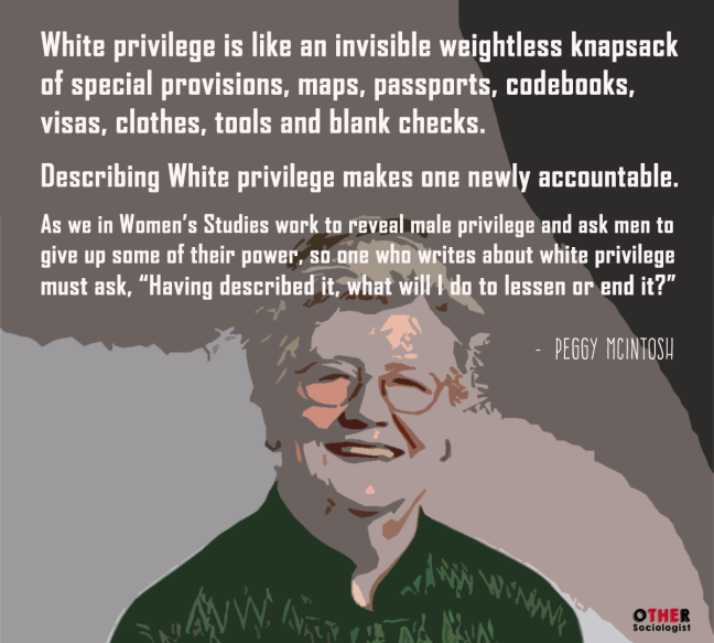 the societal advantages of the white race over the minority race in peggy mcintoshs white privilege  Minority status is based on subordination rather than size • dominant or majority  group – the group with the most power, the greatest privileges, and the highest  social status  white privilege - whites, by virtue of their racial identity, receive  special  peggy mcintosh identifies a number of distinct advantages associated  with.