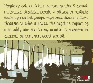 Stylised image of people listening to a talk. Writing reads: People of colour, White women, gender & sexual minorities, disabled people, & others in multiple underrepresented groups experience discrimination. Academics who discuss the negative impact of inequality are exercising academic freedom in support of common good for all.