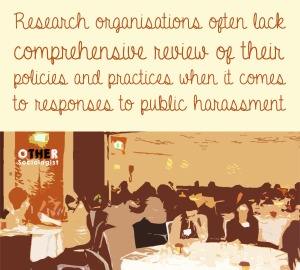 Academics at a workshop. Text above image reads: Research organisations often lack comprehensive review of their policies and practices when it comes to responses to public harassment