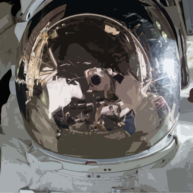 特写宇航员在头盔上的倒影,当他们在太空工作时