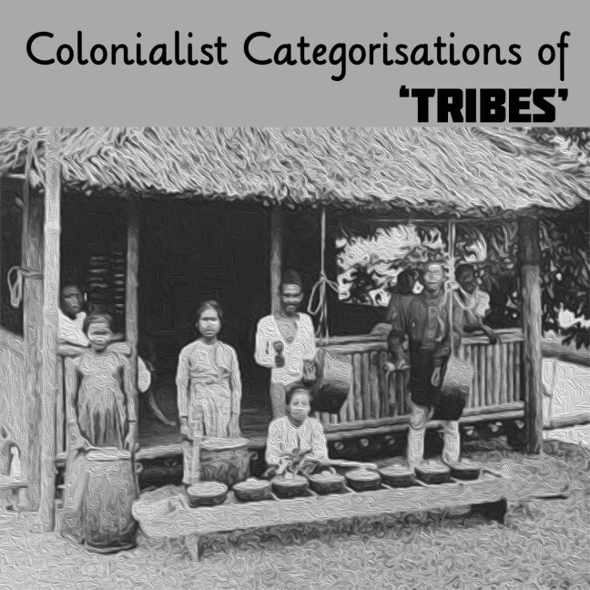 Stylised drawing of a Tausug family standing in front of their home in black and white