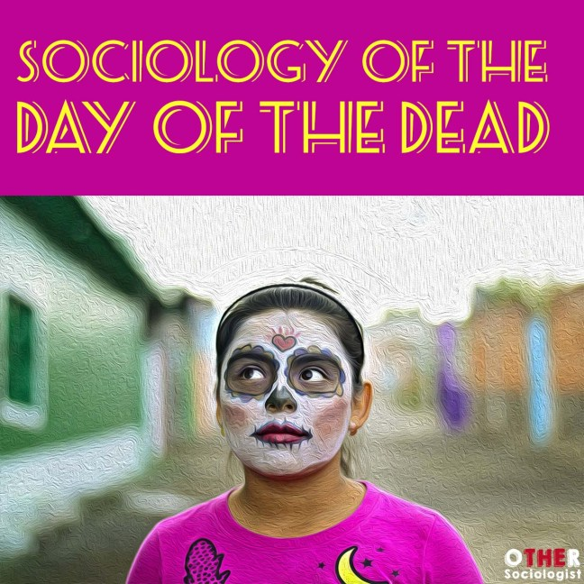 Latin girl wears a painted face for Dia De Los Muertos
