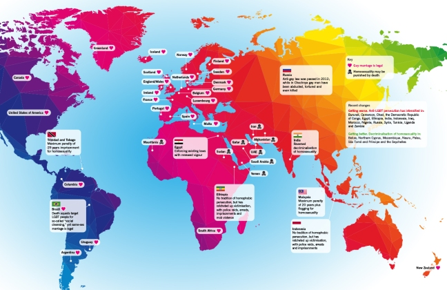 Map of the world showing gay rights