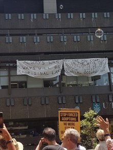 Invasion Day - UTS sign - Always was, always will be Aboriginal land