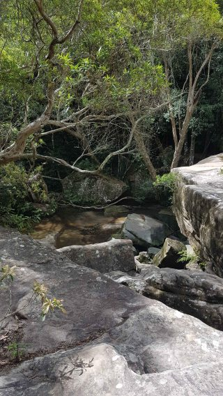 Somersby Falls - middle falls rocks