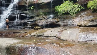 Somersby Falls - middle falls swimmer
