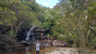 Somersby Falls - middle falls visitors