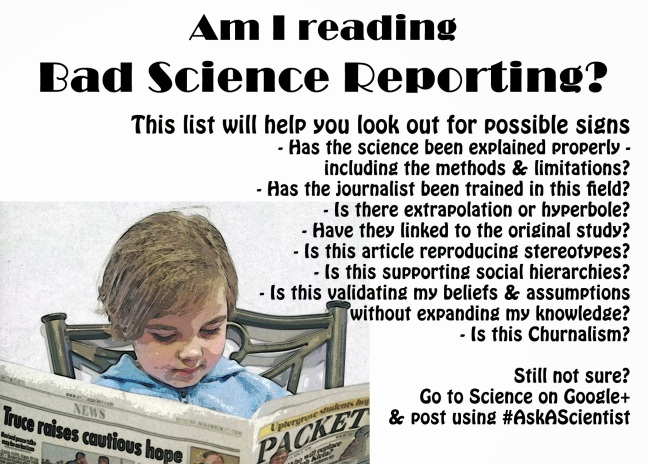 A child is reading a newspaper. The title reads: Am I reading bad science reporting?