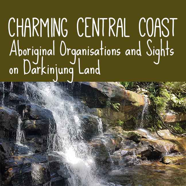Sommersby Falls with the blog post title overlaid: Charming Central Coast - Aboriginal Organisations and Sights on Darkinjung Land