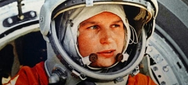 Close up of Valentine Tereshkova's face in a space helmet