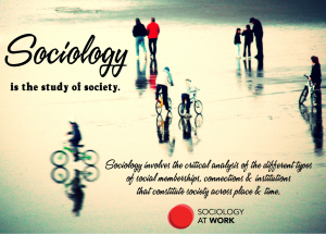 Image of groups of people walking and individuals riding bikes in different directions. Text reads: Sociology is the study of society. Sociology involves the critical analysis of the different types of social memberships, connections and institutions that constitute society across time and place