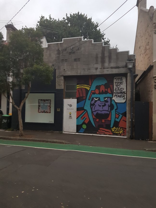 A building has a roller door with colourful street art. Drawn in a cartoon style from The Planet of the Apes, a purple figure in a military-style helmet says: It's time to end colonial power'