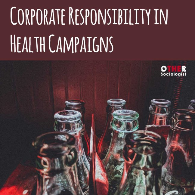 Oil drawing of the tops of coke bottles against a red background with the title, 'Corporate responsibility in health campaigns'