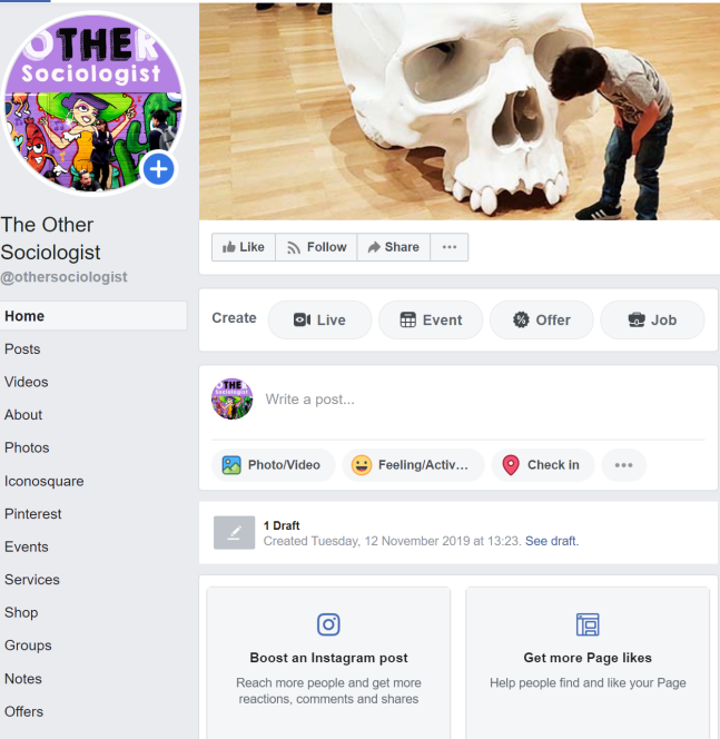 Screenshot of my Facebook page, showing the menu on the left, my cover photo of a child in front of an art installation of a giant skull, and two pay to promote areas at the top of my page