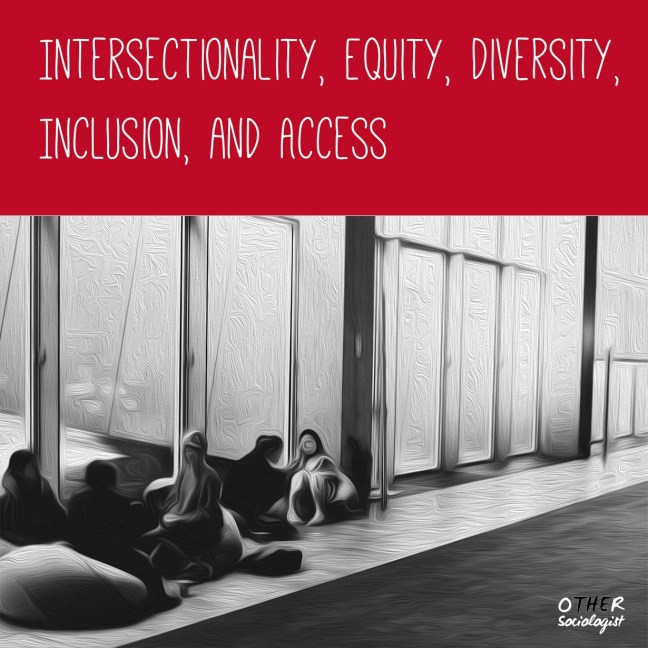 Bottom two-thirds is a drawing of indistinct figures seated on the ground in a large building, beside windows. Title of the resource is at the top: Intersectionality, equity, diversity, inclusion and access