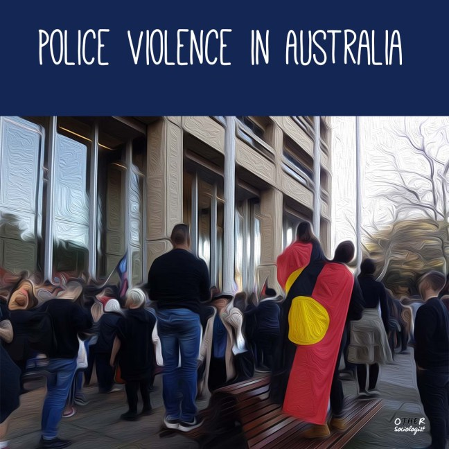 "Oil painting style image of a group of protesters in front of New South Wales Court. Two of them stand on seats and wear the Aboriginal flag. The title reads, ""Police violence in Australia"""