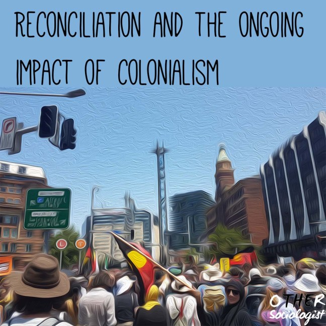 Oil painting style image showing protesters carrying the Aboriginal flag