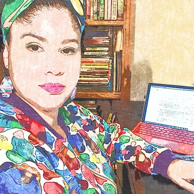 Drawing of me sitting at a desk in front of my laptop. I'm wearing a bright multicoloured jacket and headband