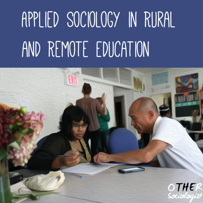 "Title at the top reads: ""Applied Sociology in Training and Education."" A woman and man sit at a table. She's writing and he's pointing at her work. They're both Asian and Brown"