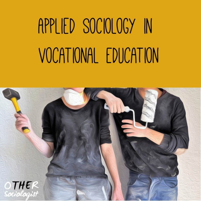 "Oil-style picture of two White people in paint-soaked clothes. A woman on the left holds a hammer. The man on the right holds a paint roller. We can't see their faces. The top third of the graphic has the heading ""Appleid sociology in vocational education"""