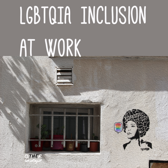 A window with bars and a wall with a stencil of a Black woman's face. Text reads: LGBTQIA inclusion at work