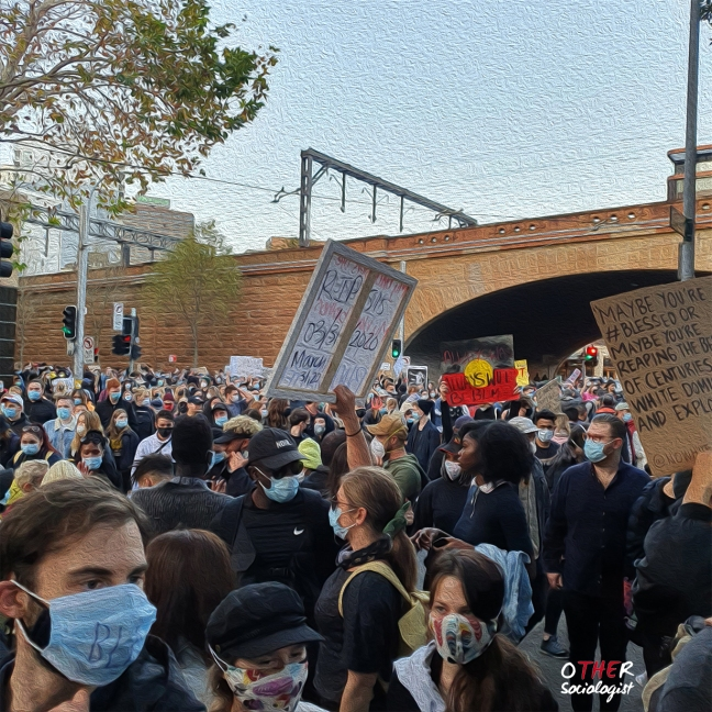 Crowd of protesters in Sydney