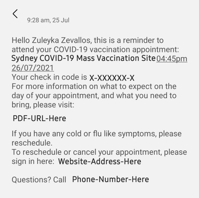 SMS showing my name and appointment, with a PDF link