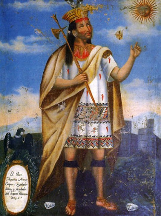 Manco Cápac painting from the 18th Century. He is painted in a Christian religious style. He holds a golden staff. He wears a high golden crown and golden cape. He is pointing to the sun