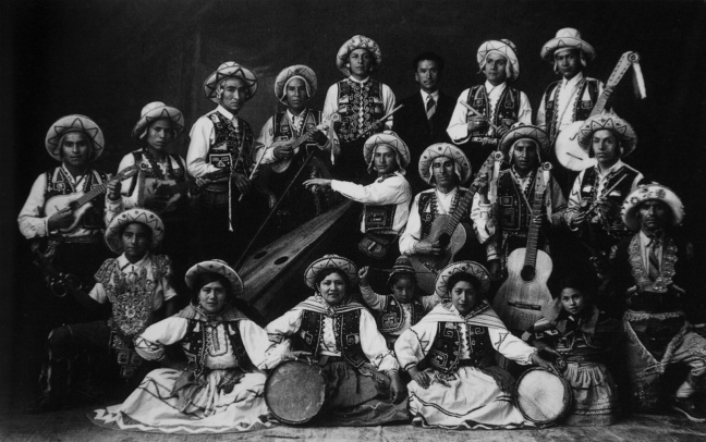 Quechuan band dressed in traditional clothing from the 1900s