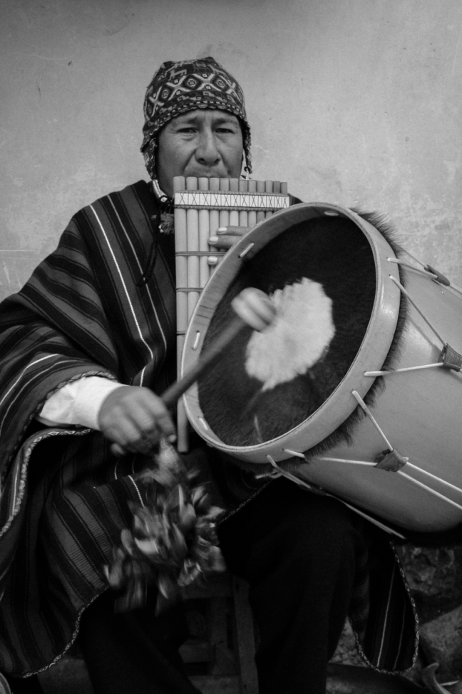 Quechuan musician simultaneously plays the siku - pan pipes - and a drum
