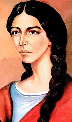 Drawing of Micaela Bastidas. She has long black braided hair. She looks determined